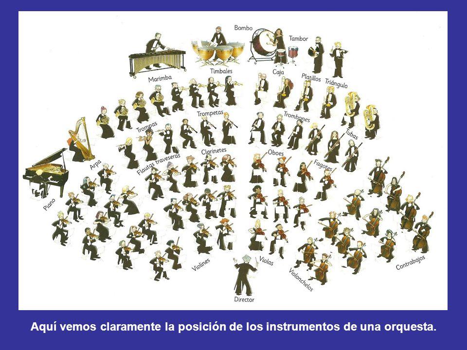 Aquí vemos claramente la posición de los instrumentos de una orquesta.
