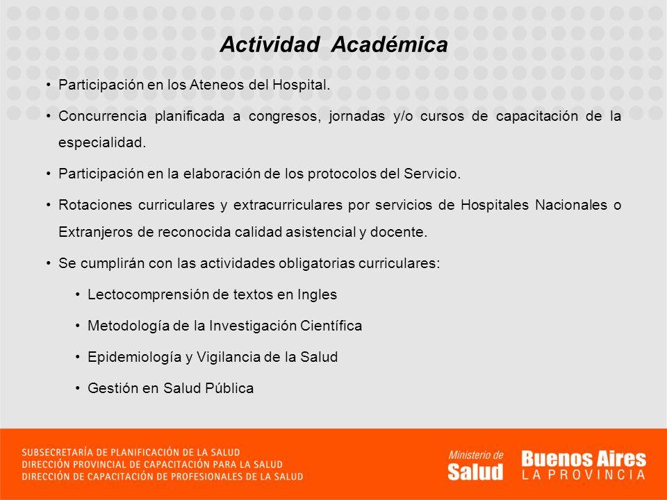 Actividad Académica Participación en los Ateneos del Hospital.