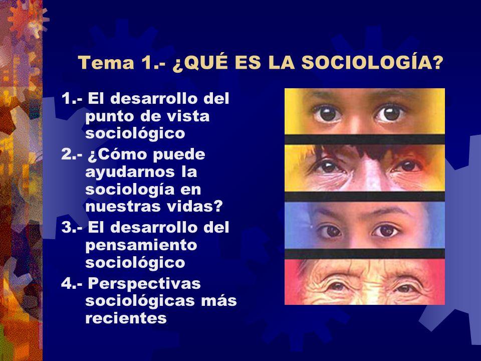 Tema 1.- ¿QUÉ ES LA SOCIOLOGÍA