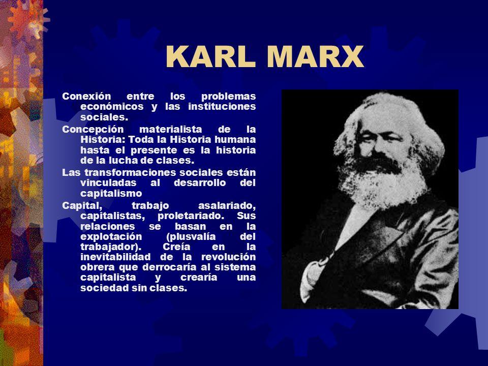 KARL MARX Conexión entre los problemas económicos y las instituciones sociales.