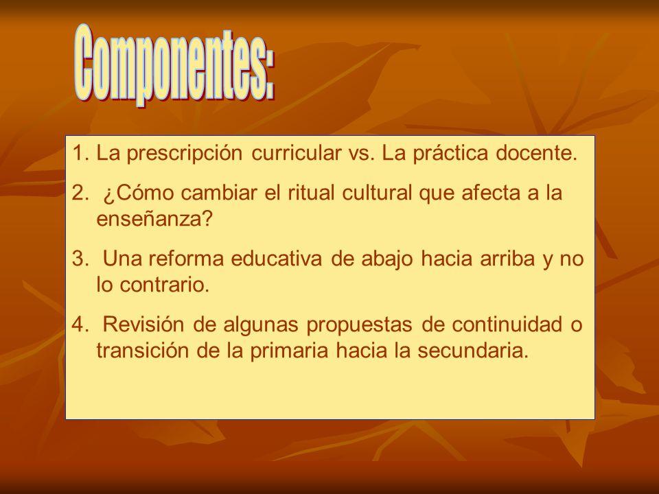 Componentes: La prescripción curricular vs. La práctica docente.