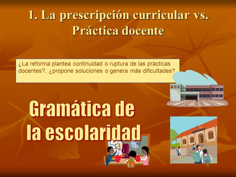 1. La prescripción curricular vs. Práctica docente