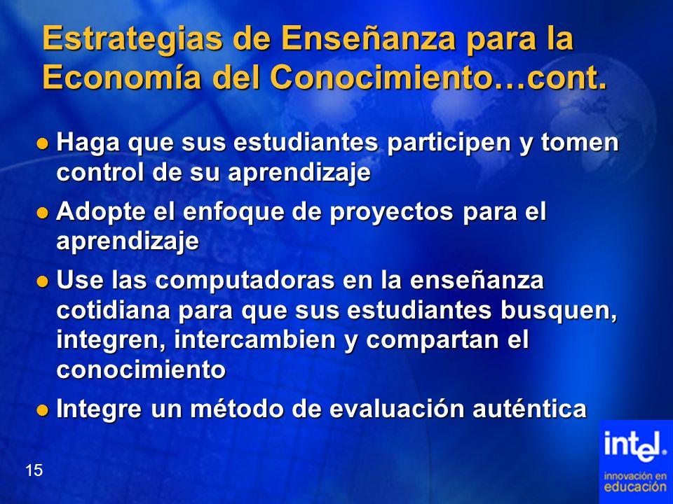 Estrategias de Enseñanza para la Economía del Conocimiento…cont.