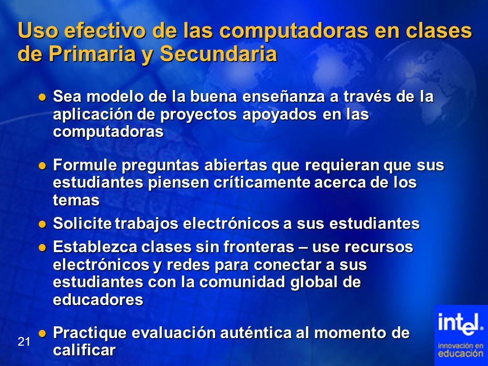Uso efectivo de las computadoras en clases de Primaria y Secundaria