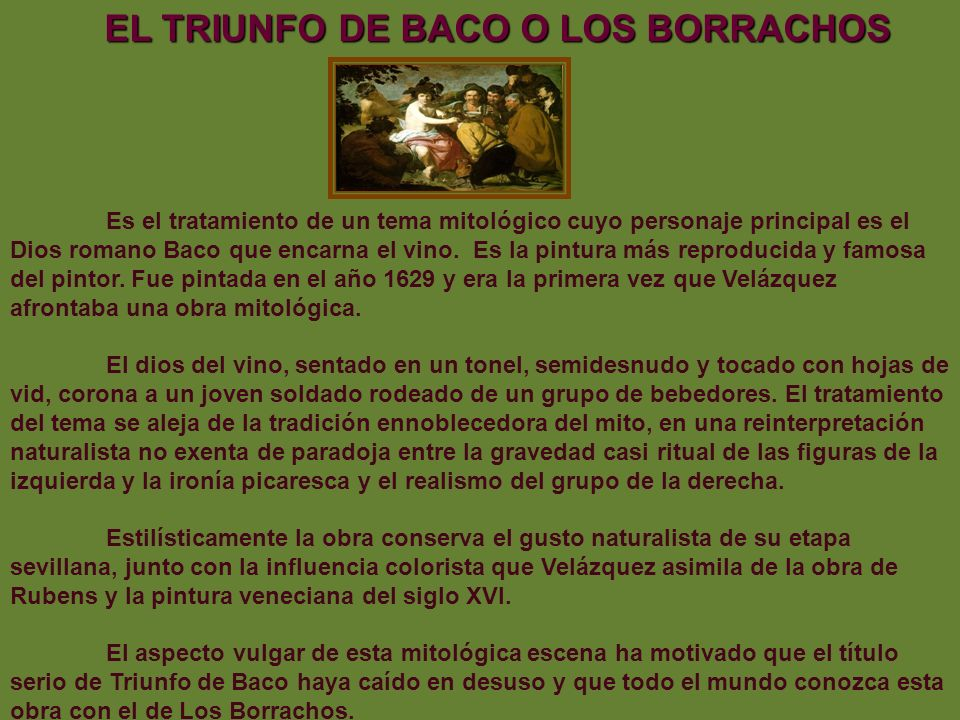 EL TRIUNFO DE BACO O LOS BORRACHOS