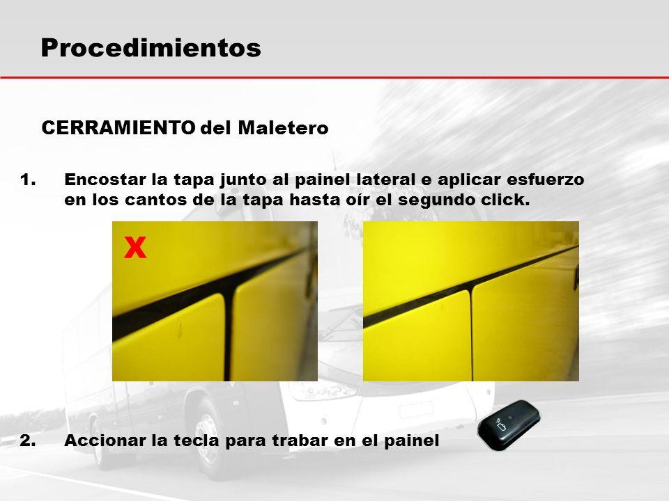 X Procedimientos CERRAMIENTO del Maletero