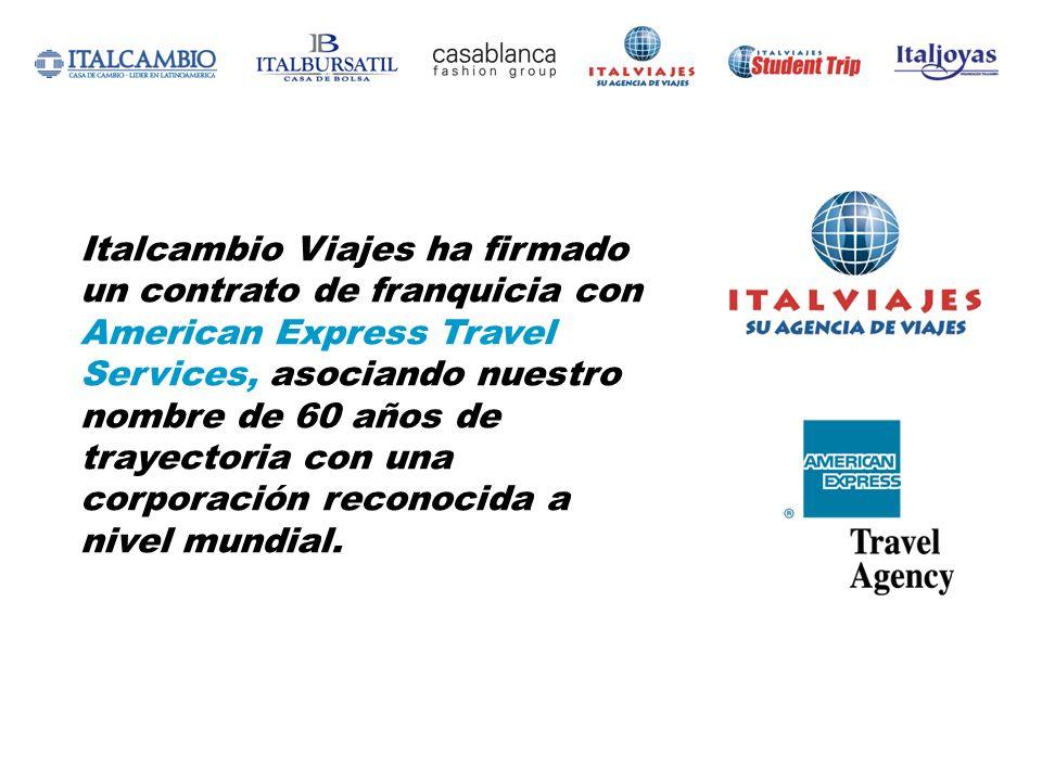 Italcambio Viajes ha firmado un contrato de franquicia con American Express Travel Services, asociando nuestro nombre de 60 años de trayectoria con una corporación reconocida a nivel mundial.