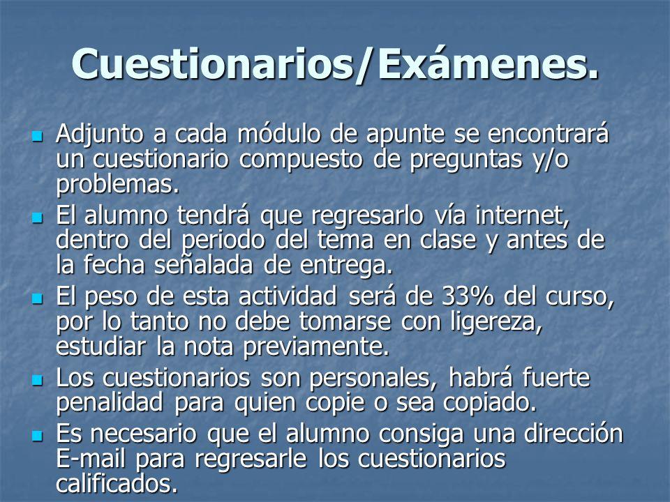 Cuestionarios/Exámenes.