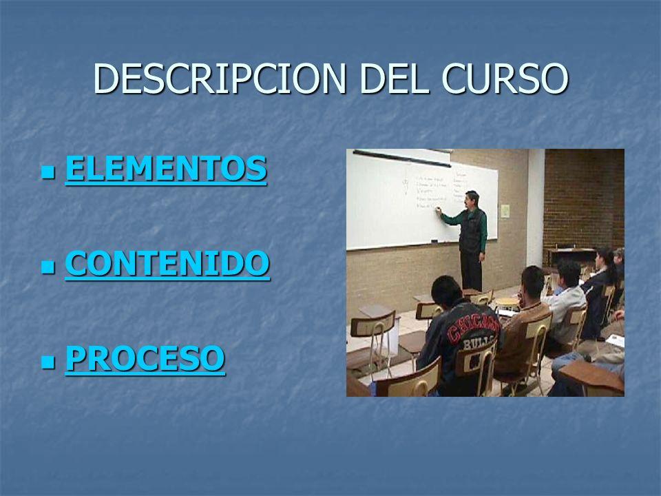 DESCRIPCION DEL CURSO ELEMENTOS CONTENIDO PROCESO