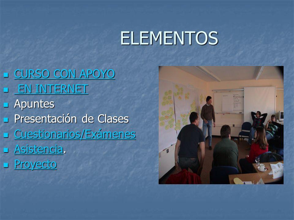 ELEMENTOS CURSO CON APOYO EN INTERNET Apuntes Presentación de Clases