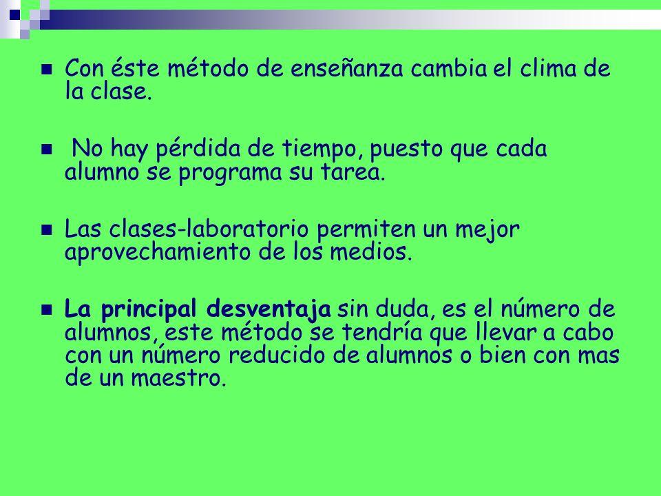 Con éste método de enseñanza cambia el clima de la clase.