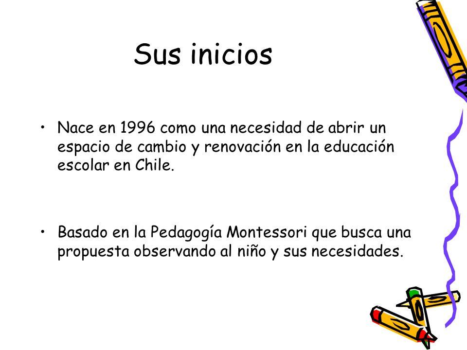 Sus inicios Nace en 1996 como una necesidad de abrir un espacio de cambio y renovación en la educación escolar en Chile.
