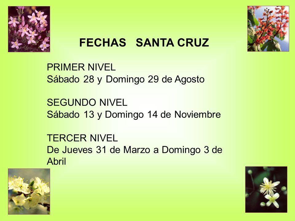 FECHAS SANTA CRUZ PRIMER NIVEL Sábado 28 y Domingo 29 de Agosto