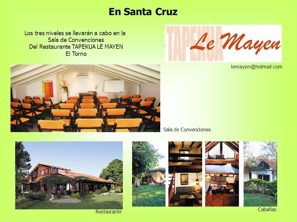 En Santa Cruz Los tres niveles se llevarán a cabo en la
