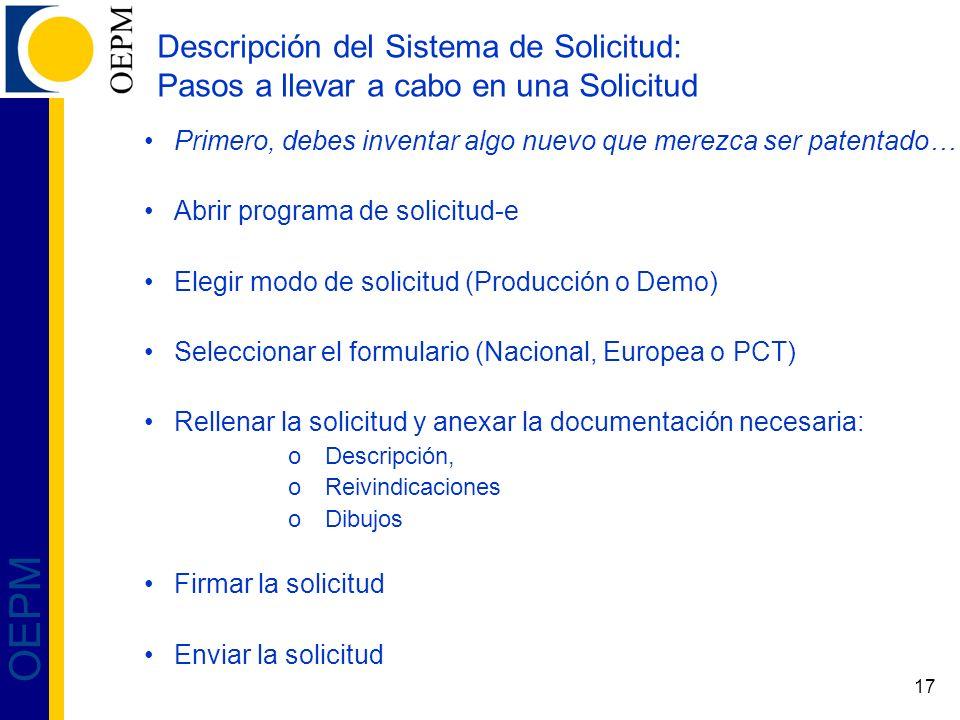 Descripción del Sistema de Solicitud: Pasos a llevar a cabo en una Solicitud