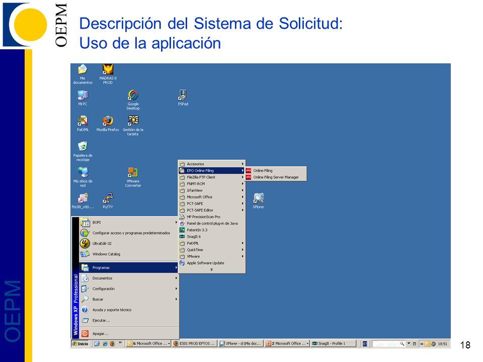 Descripción del Sistema de Solicitud: Uso de la aplicación