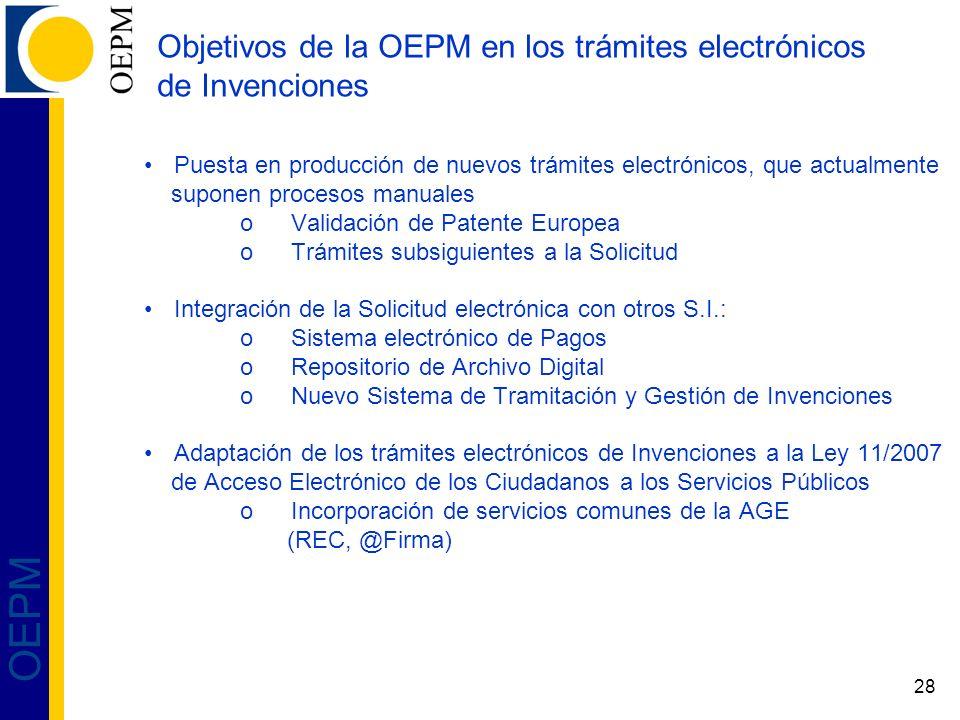 Objetivos de la OEPM en los trámites electrónicos de Invenciones