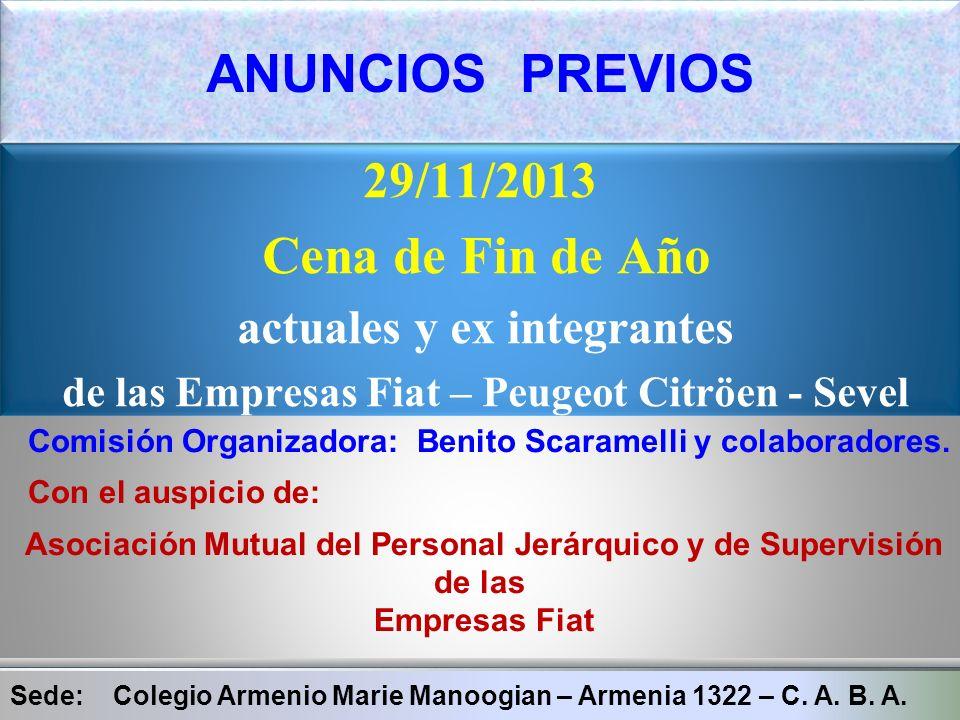ANUNCIOS PREVIOS 29/11/2013 Cena de Fin de Año