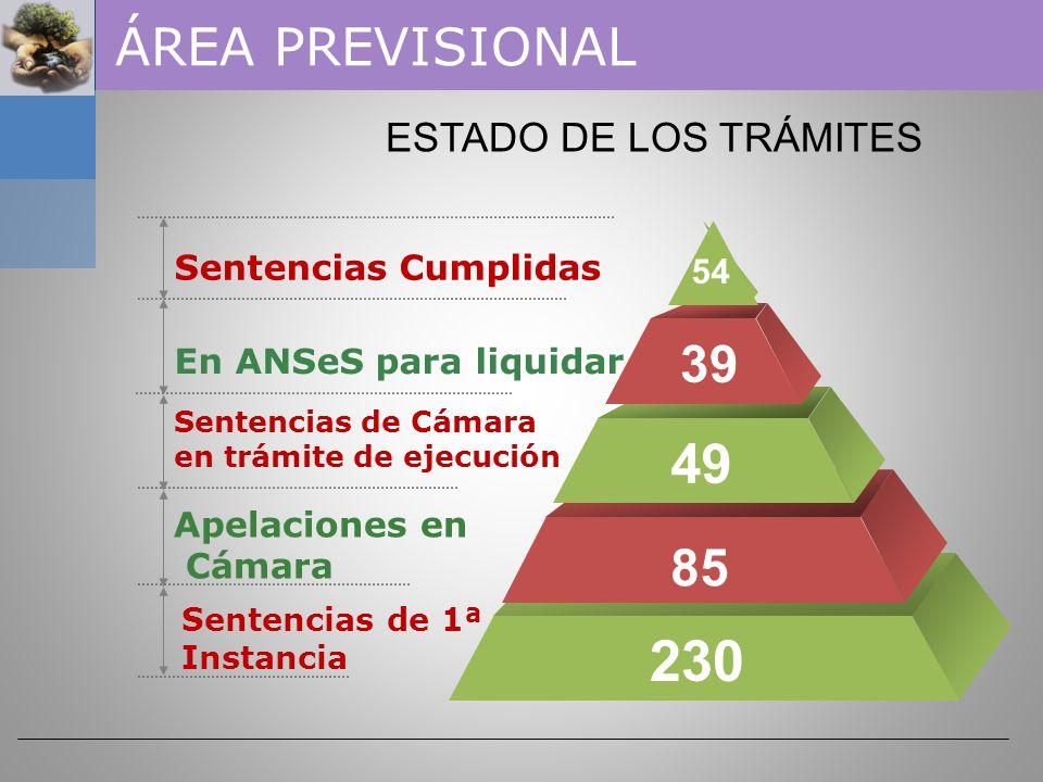 230 49 ÁREA PREVISIONAL 39 85 ESTADO DE LOS TRÁMITES