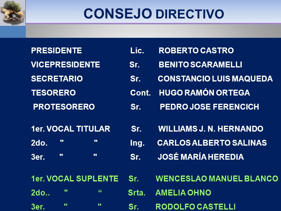CONSEJO DIRECTIVO PRESIDENTE Lic. ROBERTO CASTRO