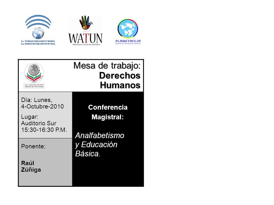 Mesa de trabajo: Derechos Humanos Analfabetismo y Educación Básica.