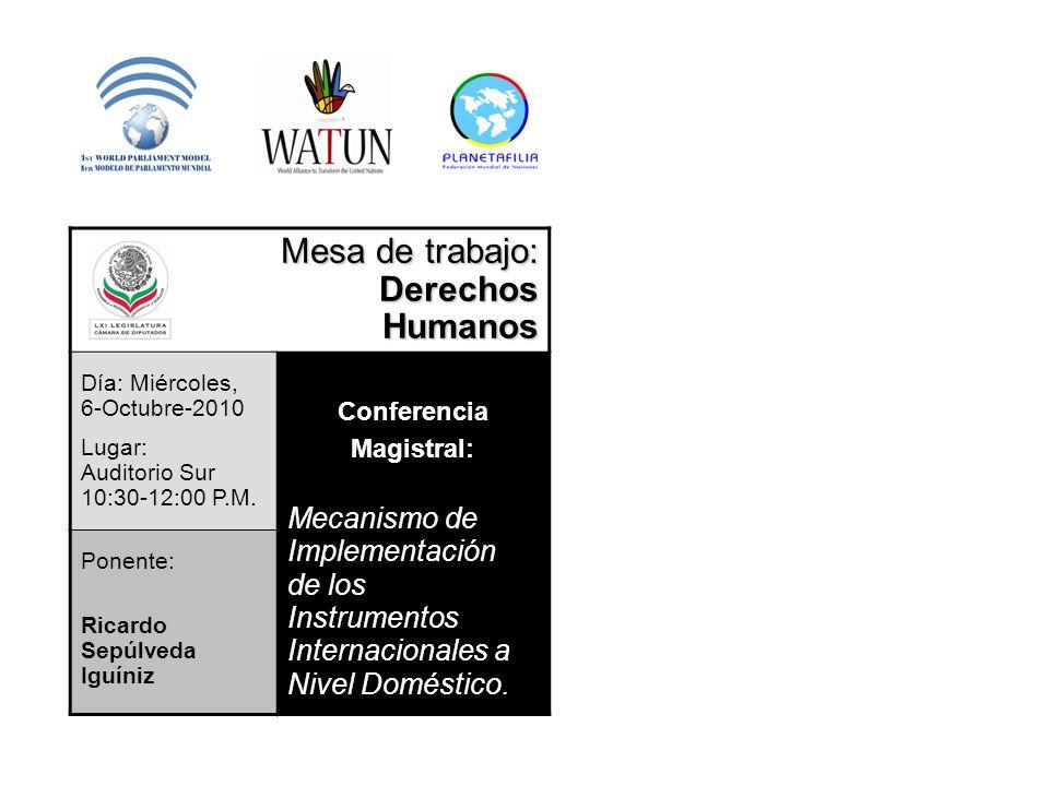 Mesa de trabajo: Derechos Humanos Mecanismo de Implementación