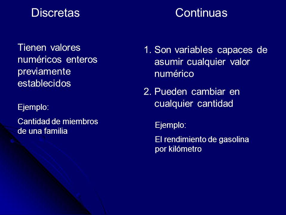 Discretas Continuas. Tienen valores numéricos enteros previamente establecidos. Son variables capaces de asumir cualquier valor numérico.