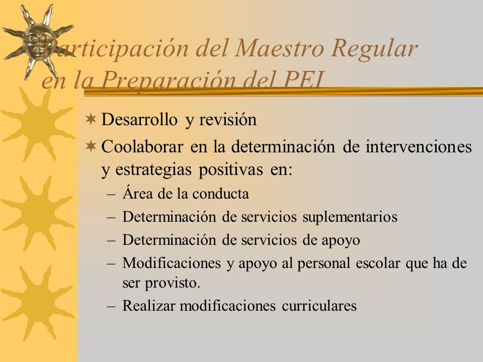 Participación del Maestro Regular en la Preparación del PEI