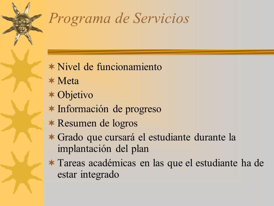 Programa de Servicios Nivel de funcionamiento Meta Objetivo