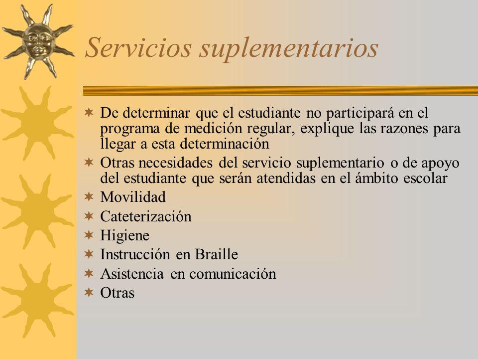 Servicios suplementarios