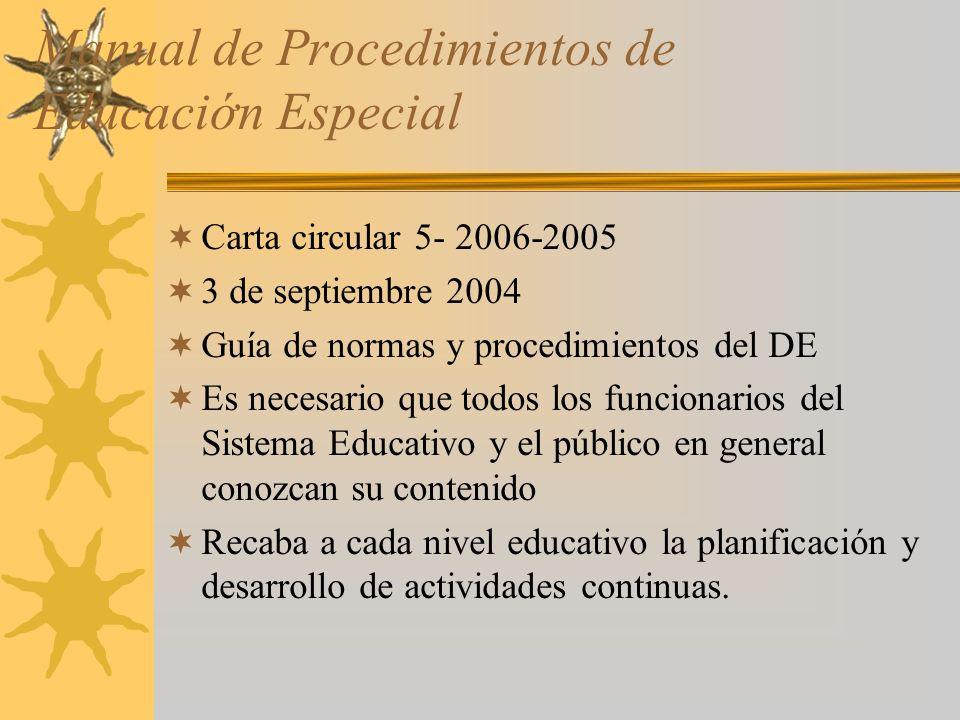 Manual de Procedimientos de Educaciớn Especial
