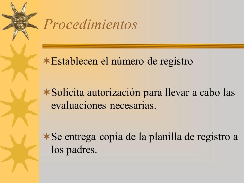 Procedimientos Establecen el número de registro