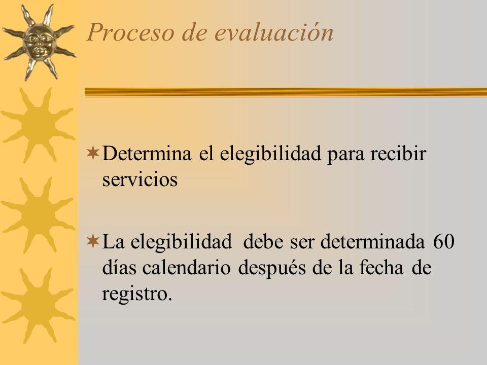Proceso de evaluación Determina el elegibilidad para recibir servicios