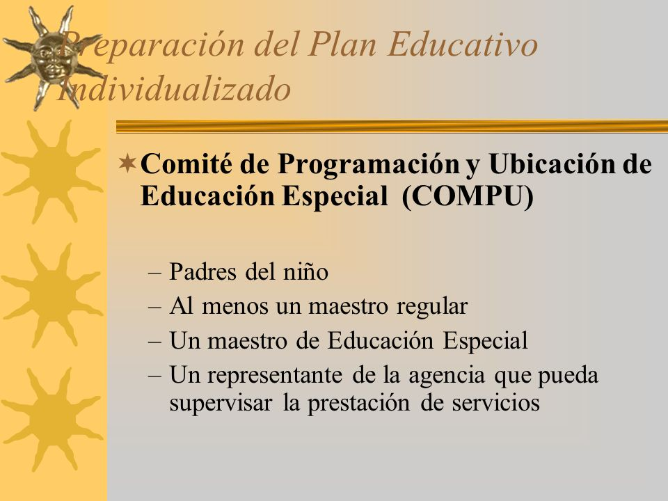 Preparación del Plan Educativo Individualizado