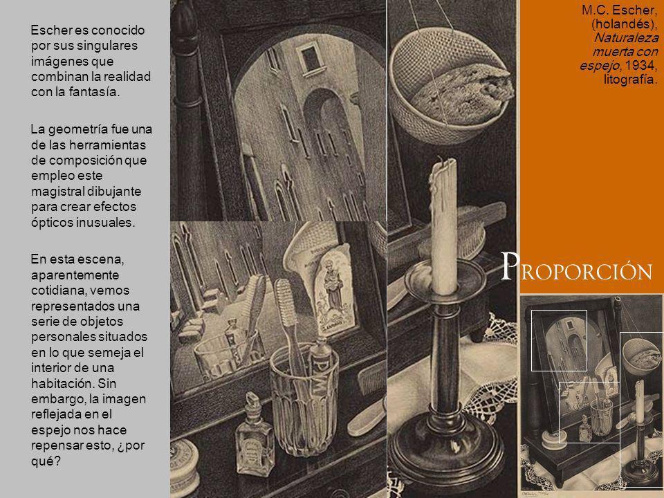 M.C. Escher, (holandés), Naturaleza muerta con espejo, 1934, litografía.