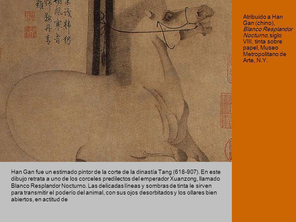 Atribuido a Han Gan (chino), Blanco Resplandor Nocturno, siglo VIII, tinta sobre papel, Museo Metropolitano de Arte, N.Y.