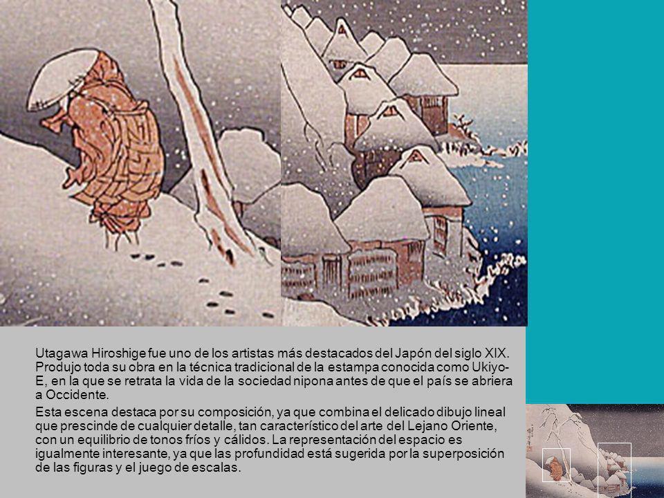 Utagawa Hiroshige fue uno de los artistas más destacados del Japón del siglo XIX. Produjo toda su obra en la técnica tradicional de la estampa conocida como Ukiyo-E, en la que se retrata la vida de la sociedad nipona antes de que el país se abriera a Occidente.