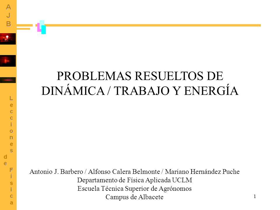 PROBLEMAS RESUELTOS DE DINÁMICA / TRABAJO Y ENERGÍA