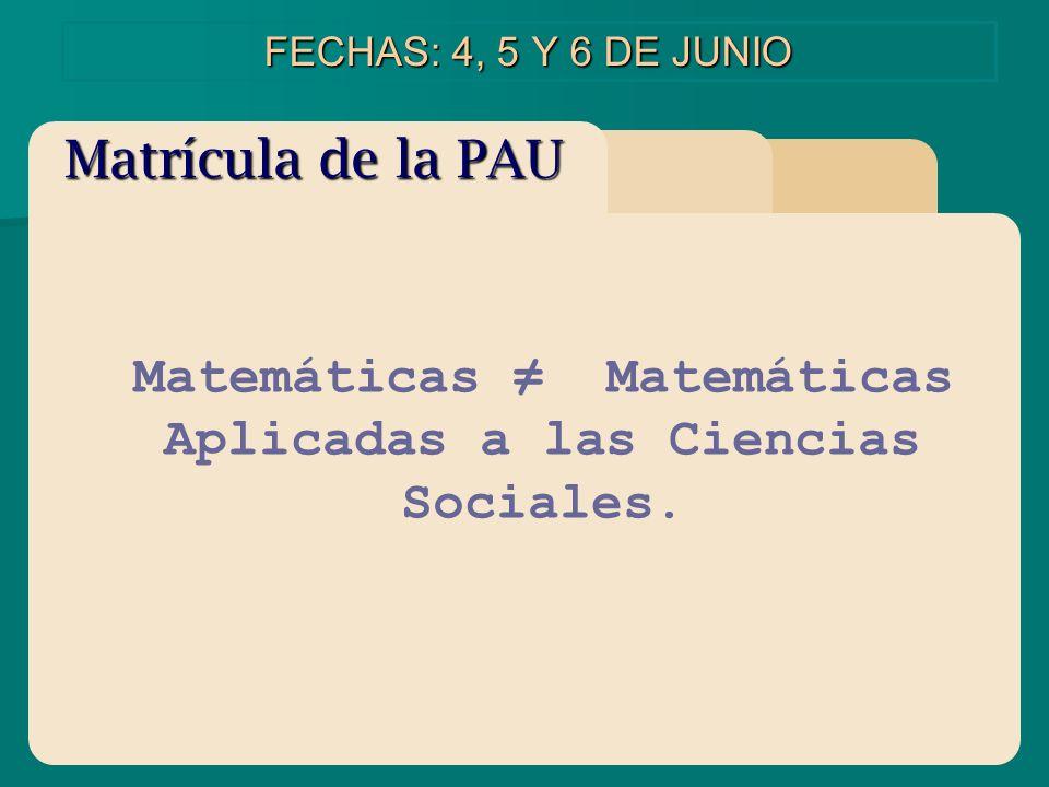 Matemáticas ≠ Matemáticas Aplicadas a las Ciencias Sociales.