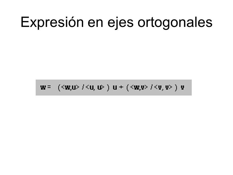 Expresión en ejes ortogonales