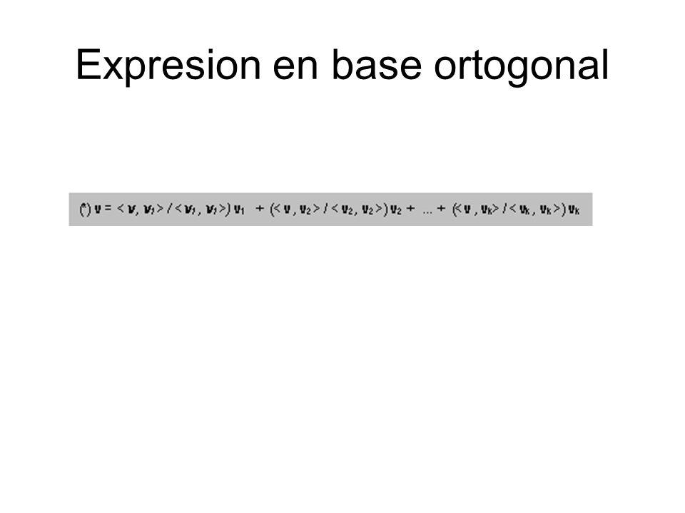 Expresion en base ortogonal