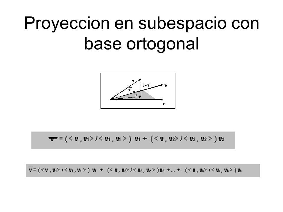 Proyeccion en subespacio con base ortogonal