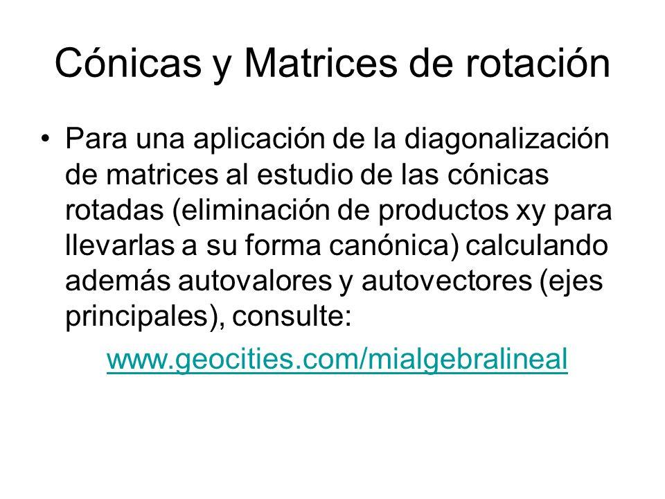Cónicas y Matrices de rotación