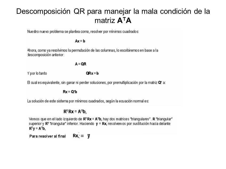 Descomposición QR para manejar la mala condición de la matriz ATA