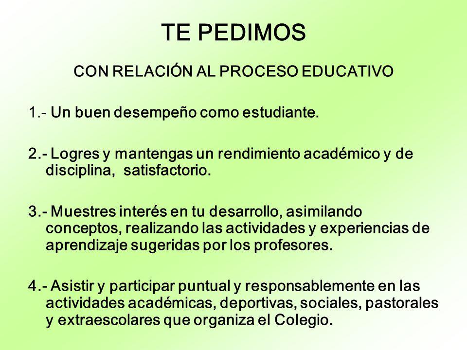 CON RELACIÓN AL PROCESO EDUCATIVO