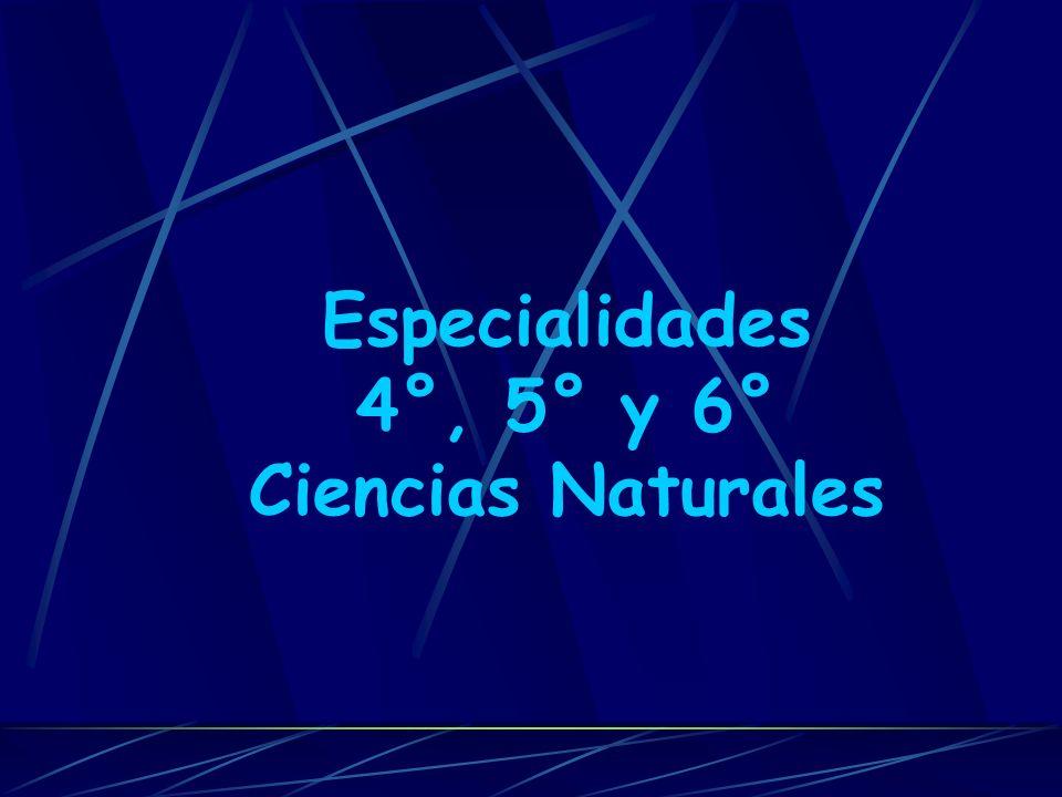 Especialidades 4°, 5° y 6° Ciencias Naturales