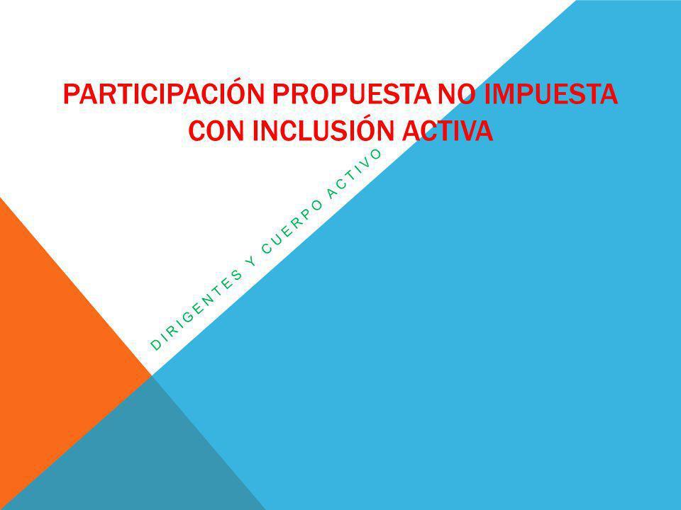 Participación propuesta no impuesta con inclusión activa