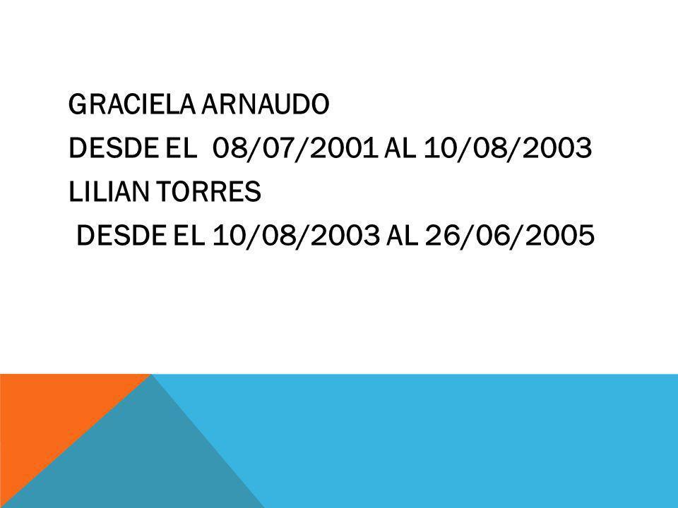Graciela Arnaudo desde el 08/07/2001 al 10/08/2003 Lilian Torres desde el 10/08/2003 al 26/06/2005