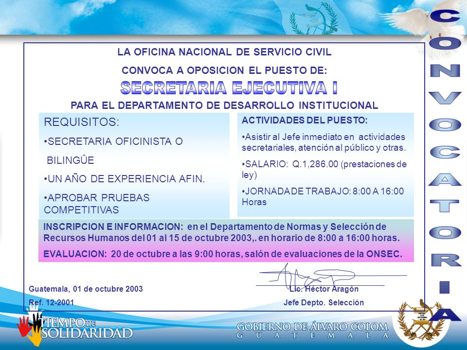 CONVOCATORIA SECRETARIA EJECUTIVA I REQUISITOS: