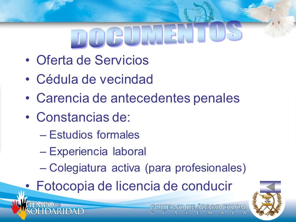 DOCUMENTOS Oferta de Servicios Cédula de vecindad